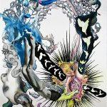 K1 + U1 = K2 + U2, 2020-21 Pen, gouache, watercolour, ink, pencil, gold leaf on paper 183 x 113 cm