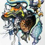 Polite botany, 2020, Gouache, watercolour, ink on paper, 54 x 39 cm